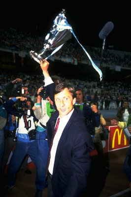 13 May 1987:  Ajax Coach Johan Cruyff holds the trophy aloft after the European Cup Winners Cup final against Lokomotive Leipzig at the Olympic Stadium in Athens, Greece. Ajax won the match 1-0. \ Mandatory Credit: David  Cannon/Allsport