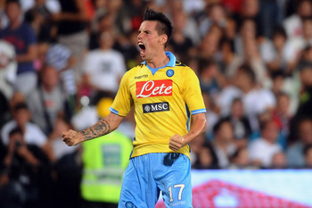CESENA, ITALY - SEPTEMBER 10:  Marek Hamsik of SSC Napoli celebrates after scoring a goal during the Serie A match between AC Cesena and SSC Napoli at Dino Manuzzi Stadium on September 10, 2011 in Cesena, Italy.  (Photo by Mario Carlini / Iguana Press/Get