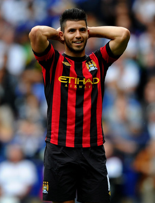 BOLTON, ENGLAND - AUGUST 21:  Sergio Aguero of Manchester City reacts to a missed chance during the Barclays Premier League match between Bolton Wanderers and Manchester City at the Reebok Stadium on August 21, 2011 in Bolton, England.  (Photo by Laurence