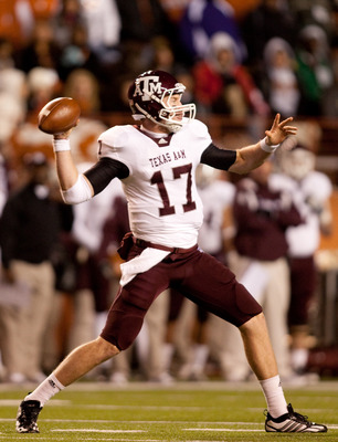 AUSTIN, TX - NOVEMBER 25:  Quarterback Ryan Tannehill #17 of Texas A&M passes against the University of Texas during the second half at Darrell K. Royal-Texas Memorial Stadium on November 25, 2010 in Austin, Texas. (Photo by Darren Carroll/Getty Images)