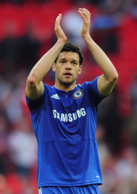 LONDON, ENGLAND - APRIL 10:  Michael Ballack of Chelsea salutes the crowd after the FA Cup sponsored by E.ON Semi Final match between Aston Villa and Chelsea at Wembley Stadium on April 10, 2010 in London, England.  (Photo by Shaun Botterill/Getty Images)