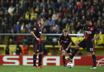 VILLAREAL, SPAIN - MARCH 17:  Eren Derdiyok (L) of Bayer Leverkusen and his teammate Michael Ballack looks on during the UEFA Europa League round of 16 second leg match between Villarreal and Bayer Leverkusen at El Madrigal stadium on March 17, 2011 in Vi