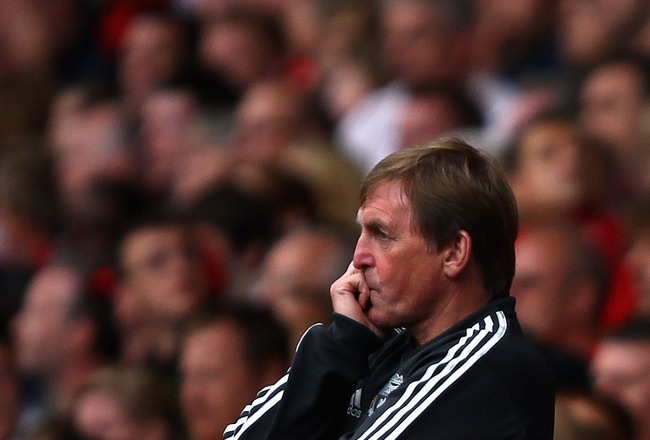 LIVERPOOL, ENGLAND - AUGUST 06:  Liverpool manager Kenny Dalglish shows his emotions during the pre season friendly match between Liverpool and Valencia at Anfield on August 6, 2011 in Liverpool, England.  (Photo by Clive Brunskill/Getty Images)