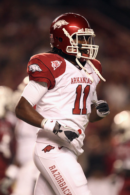 COLUMBIA, SC - NOVEMBER 06:  Cobi Hamilton #11 of the Arkansas Razorbacks against the South Carolina Gamecocks during their game at Williams-Brice Stadium on November 6, 2010 in Columbia, South Carolina.  (Photo by Streeter Lecka/Getty Images)