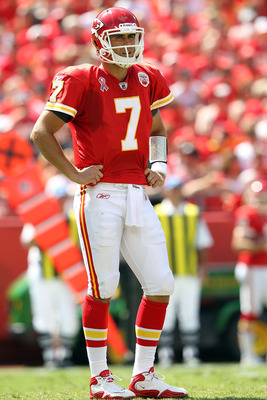 KANSAS CITY, MO - SEPTEMBER 11:  Quarterback Matt Cassel #7 of the Kansas City Chiefs reacts after a turnover during the game against the Buffalo Bills at Arrowhead Stadium on September 11, 2011 in Kansas City, Missouri.  (Photo by Jamie Squire/Getty Imag