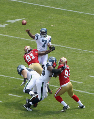 SAN FRANCISCO, CA - SEPTEMBER 11:  Tarvaris Jackson #7 of the Seattle Seahawks in action against the San Francisco 49ers during their season opener at Candlestick Park on September 11, 2011 in San Francisco, California.  (Photo by Ezra Shaw/Getty Images)
