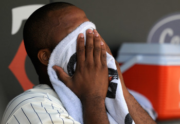 MINNEAPOLIS, MN - AUGUST 25: Francisco Liriano #47 of the Minnesota Twins towels off his face during the first inning of the game against the Baltimore Orioles on August 25, 2011 at Target Field in Minneapolis, Minnesota. (Photo by Hannah Foslien/Getty Im