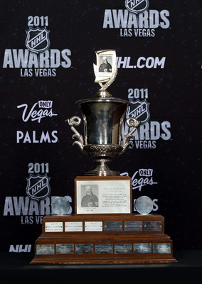 LAS VEGAS, NV - JUNE 22:  The Jack Adams Award is seen during the 2011 NHL Awards at The Pearl concert theater at the Palms Casino Resort June 22, 2011 in Las Vegas, Nevada.  (Photo by Bruce Bennett/Getty Images)