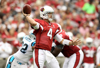 GLENDALE, AZ - SEPTEMBER 11:  Quarterback Kevin Kolb #7 of the Arizona Cardinals throws a pass during the NFL season opening game against the Carolina Panthers at the University of Phoenix Stadium on September 11, 2011 in Glendale, Arizona.  (Photo by Chr