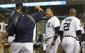 DETROIT - SEPTEMBER 09: Miguel Cabrera #24 of the Detroit Tigers reacts after Ramon Santiago #39 of the Detroit Tigers hits a two run home run in the fourth inning during the game against the Minnesota Twins at Comerica Park on September 9, 2011 in Detroi