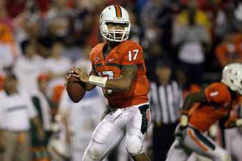 COLLEGE PARK, MD - SEPTEMBER 05:  Quarterback Stephen Morris #17 of the Miami Hurricanes drops back to pass against the Maryland Terrapins during the second half at Byrd Stadium on September 5, 2011 in College Park, Maryland. Maryland won 32-24.  (Photo b