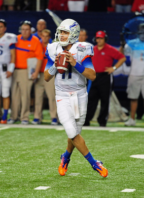 ATLANTA - SEPTEMBER 3: Kellen Moore #11 of the Boise State Broncos passes against the Georgia Bulldogs during the Chick-Fil-A Kickoff Game at the Georgia Dome on September 3, 2011 in Atlanta, Georgia. (Photo by Scott Cunningham/Getty Images)