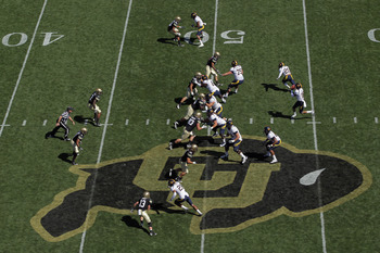 BOULDER, CO - SEPTEMBER 10:  General view of the field as the California Golden Bears offense takes on the Colorado Buffaloes defense at Folsom Field on September 10, 2011 in Boulder, Colorado.  (Photo by Doug Pensinger/Getty Images)