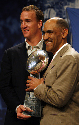 MIAMI BEACH, FL - FEBRUARY 5:  Quarterback Peyton Manning and Head Coach Tony Dungy of the Indianapolis Colts hold the Vince Lombardi Trophy after winning Super Bowl XLI at the Miami Beach Convention Center on February 5, 2007 in Miami Beach, Florida.  (P