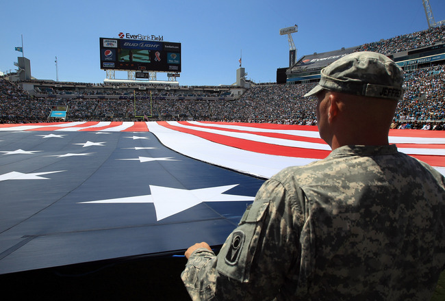 JACKSONVILLE, FL - SEPTEMBER 11:  A general view of the field remembering the 9/11 attacks ahead of the Tennessee Titans versus Jacksonville Jaguars during their season opener at EverBank Field on September 11, 2011 in Jacksonville, Florida.  (Photo by St