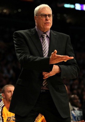 LOS ANGELES, CA - MAY 04:  Head coach Phil Jackson of the Los Angeles Lakers reacts in the first quarter while taking on the Dallas Mavericks in Game Two of the Western Conference Semifinals in the 2011 NBA Playoffs at Staples Center on May 4, 2011 in Los