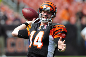 CLEVELAND, OH - SEPTEMBER 11: Starting quarterback Andy Dalton #14 of the Cincinnati Bengals warms up prior to the season opener against the Cleveland Browns at Cleveland Browns Stadium on September 11, 2011 in Cleveland, Ohio. (Photo by Jason Miller/Gett