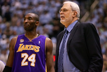 SALT LAKE CITY - MAY 09:  Kobe Bryant #24 of the Los Angeles Lakers talks with Head Coach Phil Jackson against the Utah Jazz in Game Three of the Western Conference Semifinals during the 2008 NBA Playoffs on May 9, 2008 at Energy Solutions Arena in Salt L