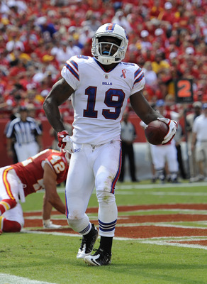 KANSAS CITY, MO - SEPTEMBER 11:  Wide receiver Donald Jones #19 of the Buffalo Bills celebrates after scoring a touchdown against the Kansas City Chiefs during the third quarter on September 11, 2011 at Arrowhead Stadium in Kansas City, Missouri.  The Bil