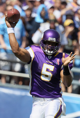SAN DIEGO, CA - SEPTEMBER 11:  Donovan McNabb #5 of the Minnesota Vikings throws the ball during the season opener against the San Diego Chargers at Qualcomm Stadium on September 11, 2011 in San Diego, California.  (Photo by Jeff Gross/Getty Images)
