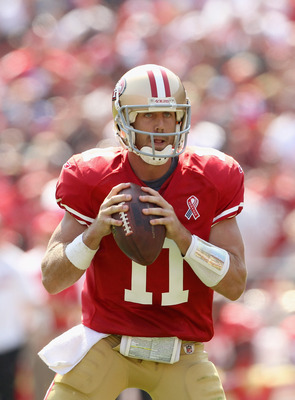 SAN FRANCISCO, CA - SEPTEMBER 11:  Alex Smith #11 of the San Francisco 49ers in action during their season opener against the Seattle Seahawks at Candlestick Park on September 11, 2011 in San Francisco, California.  (Photo by Ezra Shaw/Getty Images)