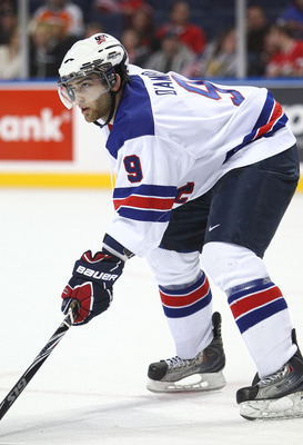 BUFFALO, NY - DECEMBER 26:  Jerry D'Amigo #9 of USA during the 2011 IIHF World U20 Championship Group A game between USA and Finland on December 26, 2010 at HSBC Arena in Buffalo, New York. (Photo by Tom Szczerbowski/Getty Images)