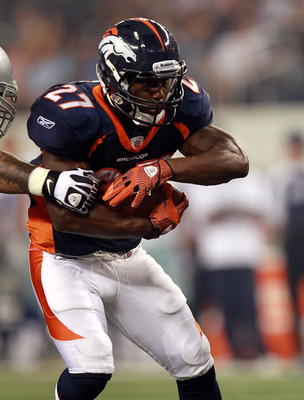 ARLINGTON, TX - AUGUST 11:  Knowshon Moreno #27 of the Denver Broncos at Cowboys Stadium on August 11, 2011 in Arlington, Texas.  (Photo by Ronald Martinez/Getty Images)
