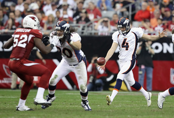 GLENDALE, AZ - DECEMBER 12:  Punter Britton Colquitt #8 of the Denver Broncos kicks a punt during the NFL game against the Arizona Cardinals at the University of Phoenix Stadium on December 12, 2010 in Glendale, Arizona.  The Cardinals defeated the Bronco