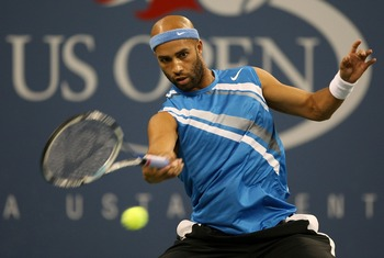 NEW YORK - SEPTEMBER 01:  James Blake hits a return against Stefan Koubek of Austria  during day six of the 2007 U.S. Open at the Billie Jean King National Tennis Center on September 1, 2007 in the Flushing neighborhood of the Queens borough of New York C