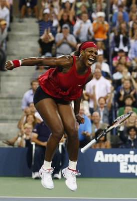 NEW YORK - SEPTEMBER 07:  Serena Williams of the United States celebrates winning championship point against Jelena Jankovic of Serbia during the women's singles finals on Day 14 of the 2008 U.S. Open at the USTA Billie Jean King National Tennis Center on
