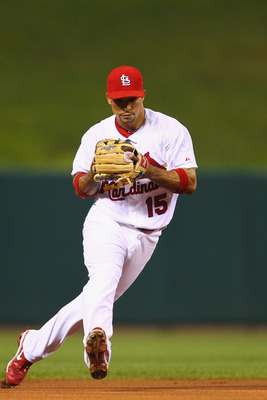 ST. LOUIS, MO - SEPTEMBER 9:  Rafael Furcal #15 of the St. Louis Cardinals gets ready to throw to first base against the Atlanta Braves at Busch Stadium on September 9, 2011 in St. Louis, Missouri.  (Photo by Dilip Vishwanat/Getty Images)