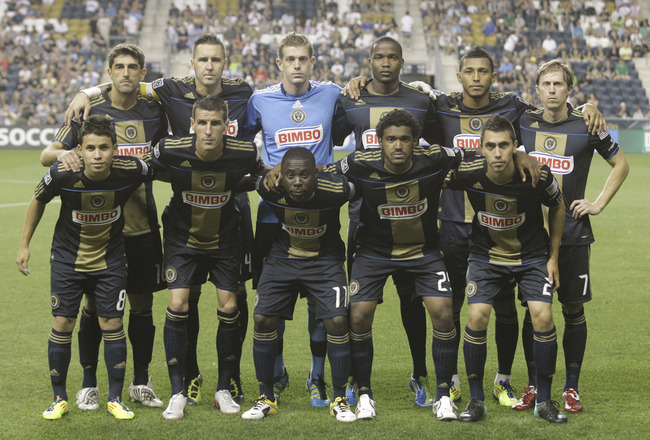 CHESTER, PA - SEPTEMBER 10:  Members of the Philadelphia Union   starting line up stand for a photo before the start of their MLS soccer game against the Portland Timbers , September 10, 2011 at PPL Stadium in Chester, Pennsylvania. (Photo by Chris Gardne