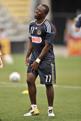 COLUMBUS, OH - AUGUST 20:  Freddy Adu #11 of the Philadelphia Union warms up before a game against the Columbus Crew on August 20, 2011 at Crew Stadium in Columbus, Ohio.   (Photo by Jamie Sabau/Getty Images)