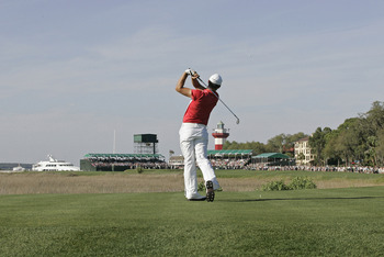 UNITED STATES - APRIL 16:  Aaron Baddeley hits his tee shot on the 18th hole during the final round of the Verizon Heritage Classic being played at the Harbour Town Golf Links in Hilton Head, South Carolina on April 16, 2006.  (Photo by Mike Ehrmann/Getty
