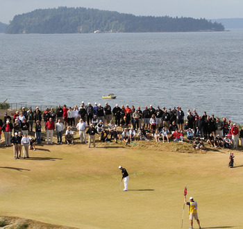 University Place, WA - AUGUST 29:  David Chung putts on No. 15 on the final day of the U.S. Amateur Golf Championship on August 29, 2010 at Chambers Bay in University Place, Washington. Chung lost to Peter Uihlein on the 36 hole final 4&2. (Photo by Otto