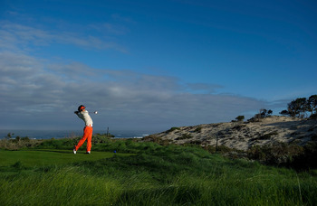 PEBBLE BEACH, CA - FEBRUARY 10:  Ryo Ishikawa of Japan makes a tee shot on the sixth hole during a practice round for the AT&T Pebble Beach National Pro-Am at the Spyglass Hill Golf Course on February 10, 2010 in Pebble Beach, California.  (Photo by Rober