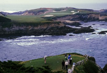 Undated: A golfer tees off during the Bing Crosby Pro-Am at Cypress Point Country Club in Monterey, California. Mandatory Credit: Otto Greule Jr.  /Allsport