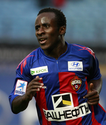 KHIMKI, RUSSIA - AUGUST 20: Seydou Doumbia of PFC CSKA Moscow celebrates after scoring a goal during the Russian Football League Championship match between PFC CSKA Moscow and FC Tom Tomsk at Arena Khimki on August 20, 2011 in Khimki, Russia.  (Photo by D