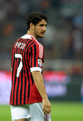 MILAN, ITALY - SEPTEMBER 09:  Pato of AC Milan looks on during the Serie A match between AC Milan and SS Lazio at Stadio Giuseppe Meazza on September 9, 2011 in Milan, Italy.  (Photo by Claudio Villa/Getty Images)