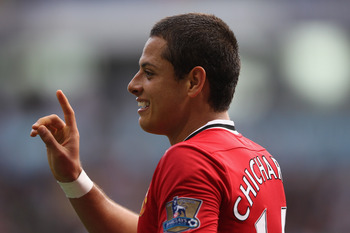 BOLTON, ENGLAND - SEPTEMBER 10:  Javier Hernandez of Manchester United during the Barclays Premier League at the Reebok Stadium on September 10, 2011 in Bolton, England.  (Photo by Michael Steele/Getty Images)