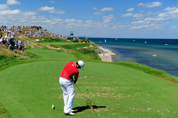 KOHLER, WI - AUGUST 15:  Jason Day of Australia hits his tee shot on the seventh hole during the final round of the 92nd PGA Championship on the Straits Course at Whistling Straits on August 15, 2010 in Kohler, Wisconsin.  (Photo by Stuart Franklin/Getty