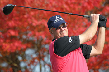 SAITAMA, JAPAN - NOVEMBER 26:  Sandy Lyle of Scotland plays a tee shot on the 5th hole during day two of the 2010 Handa Cup Senior Masters at Ohmurasaki Golf Club on November 26, 2010 in Hiki, Saitama, Japan.  (Photo by Kiyoshi Ota/Getty Images)