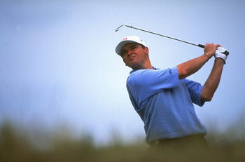 18 Jul 1999:  Paul Lawrie of Scotland in action during the British Open played at the Carnoustie GC in Carnoustie, Scotland. \ Mandatory Credit: Stephen Munday /Allsport