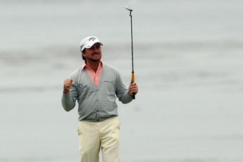 PEBBLE BEACH, CA - JUNE 20:  Graeme McDowell of Northern Ireland celebrates making par on the 18th hole to win the 110th U.S. Open at Pebble Beach Golf Links on June 20, 2010 in Pebble Beach, California.  (Photo by Andrew Redington/Getty Images)