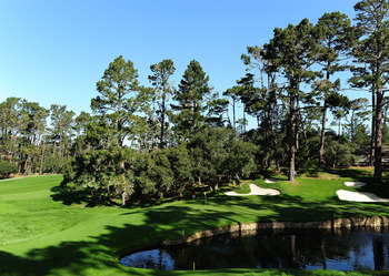 PEBBLE BEACH, CA - FEBRUARY 13:  A view on the 15th hole during round three of the AT&T Pebble Beach National Pro-Am at Spyglass Hill Golf Course on February 13, 2010 in Pebble Beach, California.  (Photo by Stuart Franklin/Getty Images)