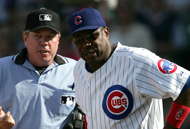 CHICAGO - AUGUST 24:  Manager Dusty Baker #12 of the Chicago Cubs argues with home plate umpire Brian Gorman #9 in the ninth inning of a game against the Atlanta Braves on August 24, 2005 at Wrigley Field in Chicago, Illinois. The Braves defeated the Cubs
