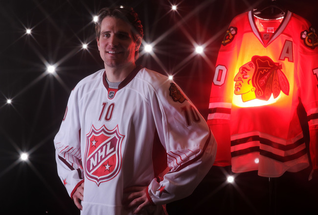 RALEIGH, NC - JANUARY 30:  (EDITORS NOTE: A special effects camera filter was used for this image.) Patrick Sharp #10 of the Chicago Blackhaws for Team Staal poses for a portrait before the 58th NHL All-Star Game at RBC Center on January 30, 2011 in Ralei