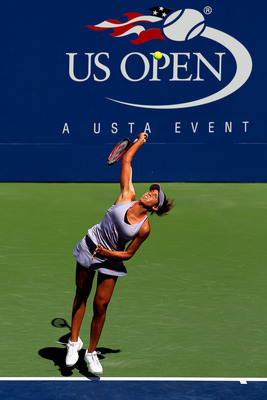 NEW YORK, NY - AUGUST 31:  Madison Keys serves against Lucie Safarova of Czech Republic during Day Three of the 2011 US Open at the USTA Billie Jean King National Tennis Center on August 31, 2011 in the Flushing neighborhood of the Queens borough of New Y