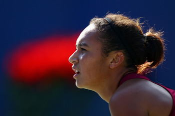 NEW YORK, NY - AUGUST 29:  Heather Watson of Great Britian plays against Maria Sharapova of Russia during Day One of the 2011 US Open at the USTA Billie Jean King National Tennis Center on August 29, 2011 in the Flushing neighborhood of the Queens borough