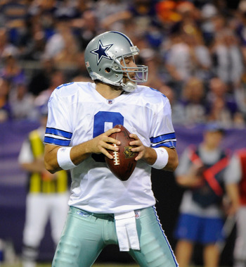 MINNEAPOLIS, MN - AUGUST 27: Tony Romo #9 of the Dallas Cowboys looks to pass against the Minnesota Vikings on August 27, 2011 at Hubert H. Humphrey Metrodome in Minneapolis, Minnesota. (Photo by Hannah Foslien/Getty Images)